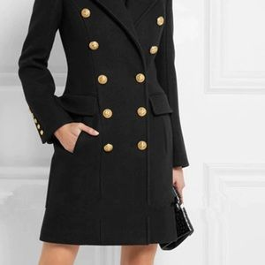 Wool double breast coat with gold buttons